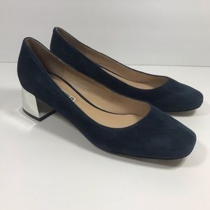 775bd350fd7 Karl Lagerfeld Shoes - Karl Lagerfeld navy blue suede pumps silver heel 9